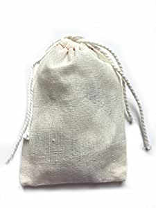 Small Cotton Muslin Cloth Double Drawstring Bag 3x5 inch 25 count