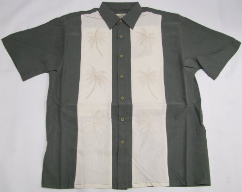 (Men's Double Palm Panel Embroidered Polynosic Rayon Polyester Shirt in Olive -)
