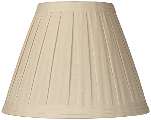Pleated Lamp Shades - Creme Linen Box Pleat Lamp Shade 7x14x11 (Spider)