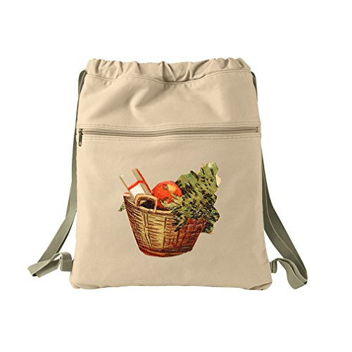 Gift Basket Vintage Look Canvas Dyed Sack Backpack Bag