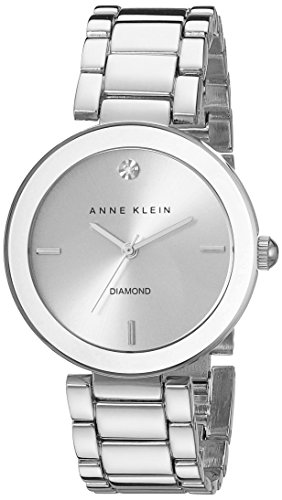 Anne Klein Women's AK/1363SVSV  Diamond Dial Silver-Tone Bracelet Watch ()
