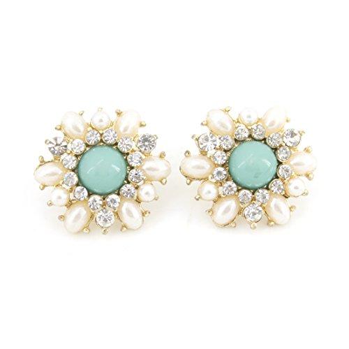 Green Pearl Crystal Flower Earrings product image