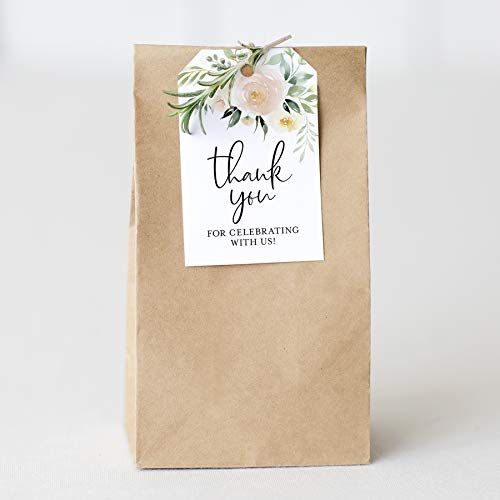 Bliss Collections Blush Floral Favor Thank You Tags - Perfect for: Wedding Favors, Baby Shower, Bridal Shower, Birthday or Special Event - 50 Pack -