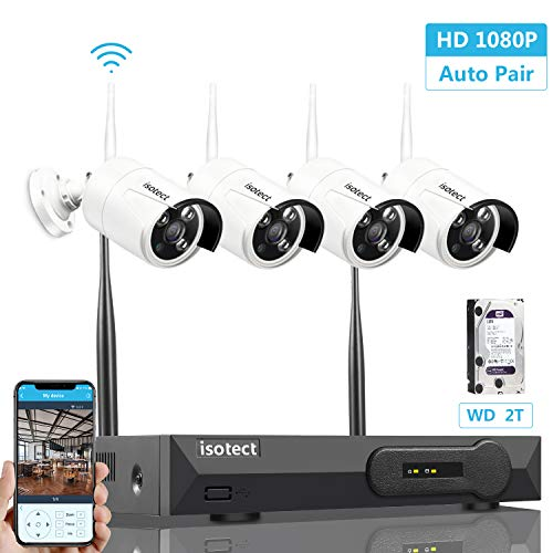 [2019 Newest] Wireless Security Camera System, Isotect Full HD 8CH 1080P WiFi NVR Kit with 4pcs 1080P Indoor Outdoor Wireless Video IP Cameras, Remote Playback, 65ft Night Vision, 1TB Hard Drive  (Best Basement Colors 2019)