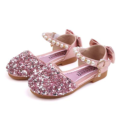 (My Heat Toddler Girls Summer Closed Toe Bling Sandals Princess Flat Shoes with Bowknot Pink)