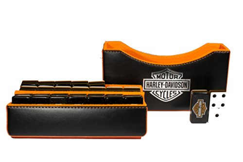 Harley-Davidson Jumbo Domino Double Six, 5 Coats 100% Acrylic. Faux Leather (Jumbo 6 Box Case)