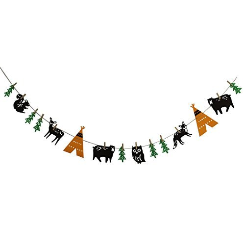 Musykrafties Fabic Woodland Camping Garland Banner for Birthday Wedding Baby Shower Party Decoration