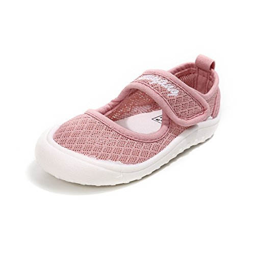 BENHERO Toddler Girls Summer Shoes Slip-on Casual Breathable Mesh Mary Jane Flat Sneaker(9.5 M US Toddler,Pink) by BENHERO