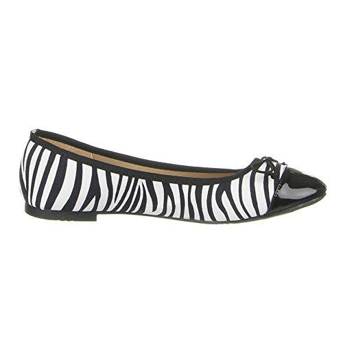 Ital-Design - zapatilla baja Mujer Negro - Schwarz Weiß