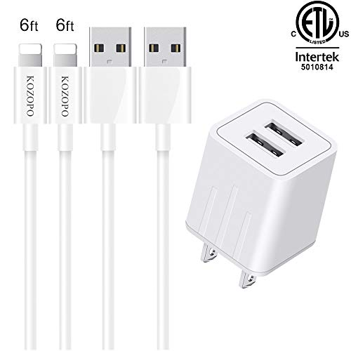 KOZOPO Phone Charger Durable USB Cable 6FT (2-Pack) Fast Charging Data Sync Transfer Cord with 2 Port Plug Travel Wall Charger Compatible with Phone X/8/7/Plus/6S/6/SE/5S/5C