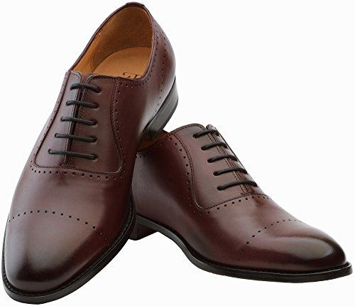 3dm Style De Vie Handcrafted Hommes En Cuir Véritable Semi-richelieu En Cuir Oxfords Chaussures Bordeaux
