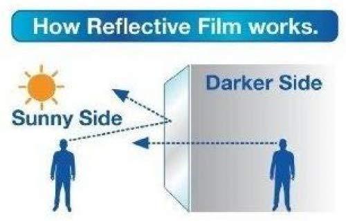 One Way Reflective Adhesive Window Film Privacy Protection Glass Tint Sticke,whitegoldash,90X400cm Anti UV Heat Control Sun Blocker JLbao Privacy Window Film