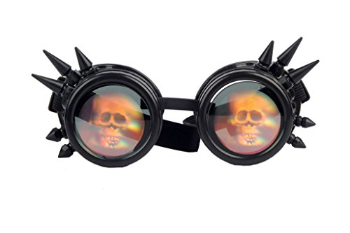 [3-5 Days Delivery Halloween Spiked Cyber Steampunk Cosplay Vintage Goggles] (Halloween Goggles)