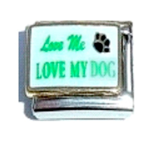 Stylysh Charms Love ME Love My Dog PET PAW Enamel Italian 9mm Link DG002 ()