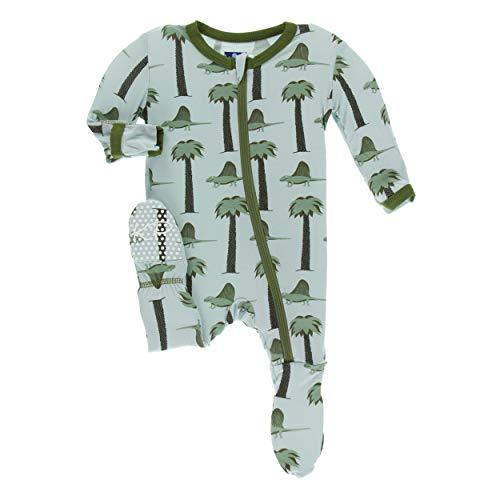 Kickee Pants Little Boys Print Footie with Zipper - Dimetrodon, 6-9 Months