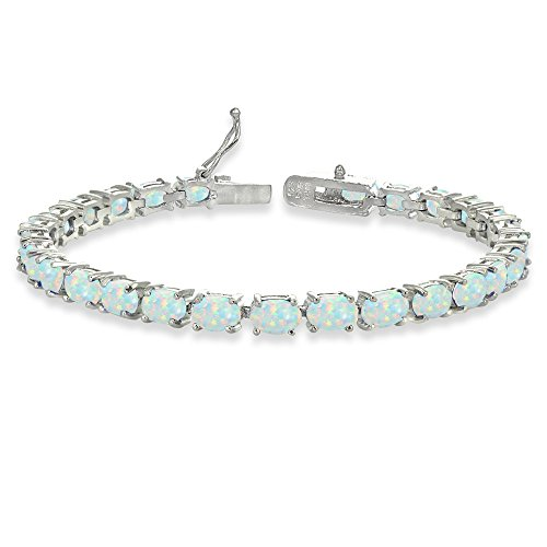 Opal Sterling Silver Tennis Bracelet - Sterling Silver 6X4mm Simulated White Opal Oval-cut Tennis Bracelet