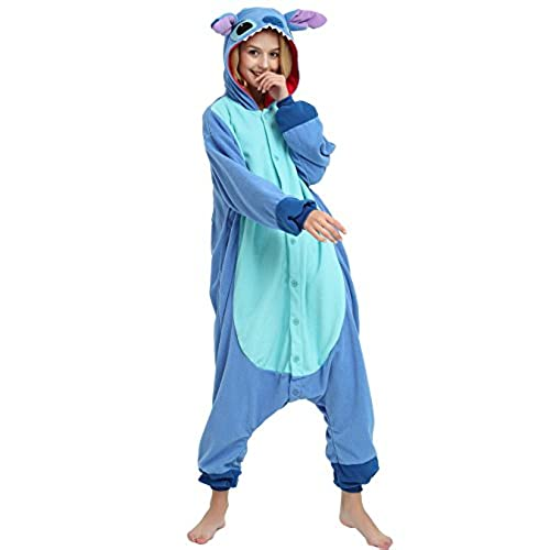 Es Unico Blue Stitch Onesie Costume for Adult and Teenagers, Halloween Kigurumi Pajama for Lilo & Stitch Character(Small)