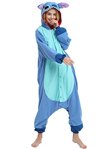 Es Unico Blue Stitch Onesie Costume for Adult and Teenagers, Halloween Kigurumi Pajama for Lilo & Stitch Character(Medium) -