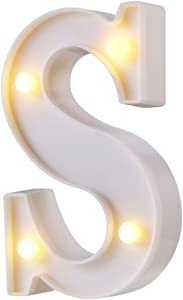LED Marquee Letter Lights, 26 Alphabet Light Up Letters Sign Perfect for Night Light Wedding Birthday Party Home Bar Decoration Christmas Lamp(White,S)