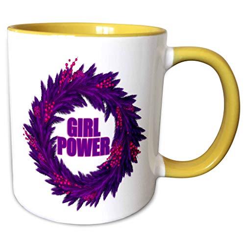 (3dRose Doreen Erhardt Christmas Collection - Bold Purple and Hot Pink Christmas Wreath with Girl Power - 11oz Two-Tone Yellow Mug (mug_294956_8) )