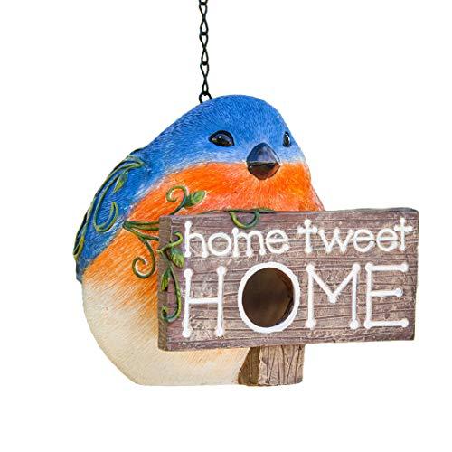 Polystone Hanging Birdhouse and Resin Bird House Blue Bird for Outdoor Garden Decoration,Home Tweet Home