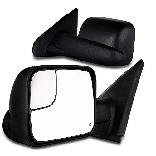SCITOO Towing Mirrors, fit Dodge Ram Exterior Accessories Mirrors fit 02-08 Ram 1500 03-09 Dodge Ram 2500 3500 Blind spot mirror Telescoping Features (02-08 power heated mirrors) Dodge Ram Exterior Accessories