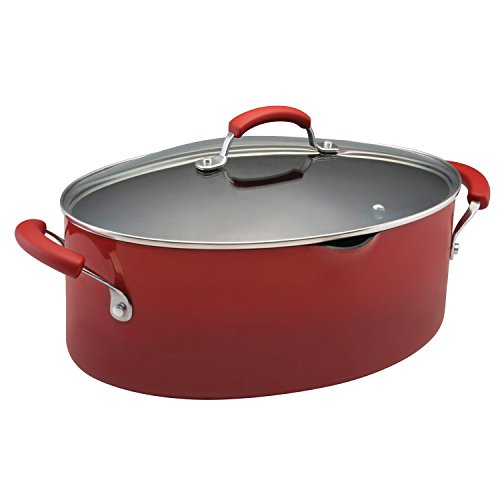 Rachael Ray Porcelain Enamel II Nonstick 8-Quart Covered Oval Pasta Pot with Pour Spout, Red (Large Oval Pan)