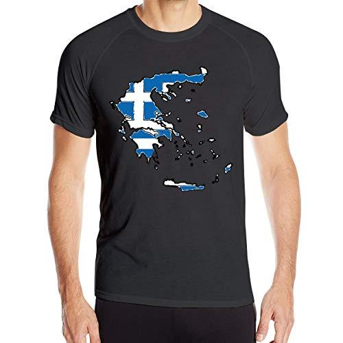 Mapa de Grecia con Bandera Griega Camisetas de Manga Corta para ...