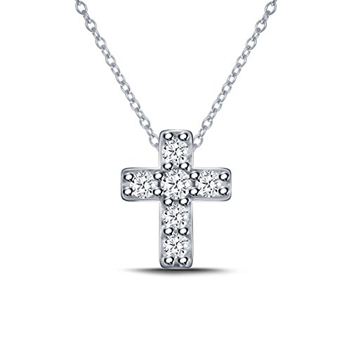 925 Silver Mini Cross Diamond Pendant Necklace (0.10cttw, IJ, I2-I3) 18 by EternalDia