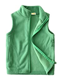 wildwalk Girls Boys Vest Fleece Solid Color Outerwear