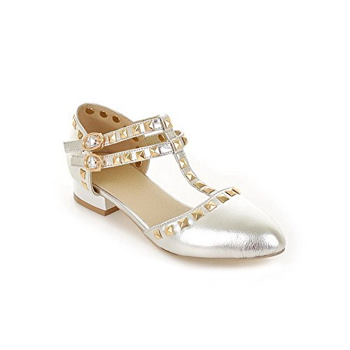 with Toe PU Patent Pointed Solid Womens Leather Silver Sandals Closed Rivet VogueZone009 4qwfZpz7tp
