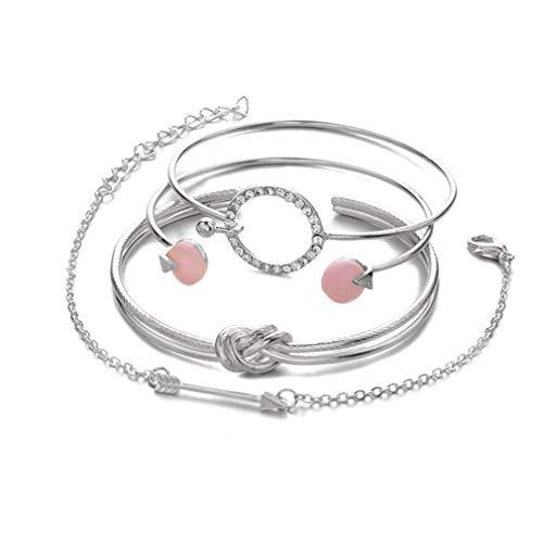 (TMROW Bracelet Set Adjustable Cuff Bracelet Open Wire Bangle Stackable Wrap Bracelet Set for Women)