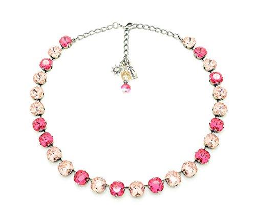 PINK ROSE PETALS 10mm Cushion Cut Necklace Made With Swarovski Elements *Antique Silver *Karnas Design Studio Swarovski Petals