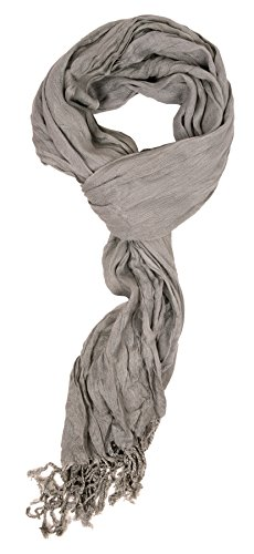 Bright Pewter Parts (Love Lakeside-Women's Must Have Solid Color Crinkle Scarf Pewter Grey)