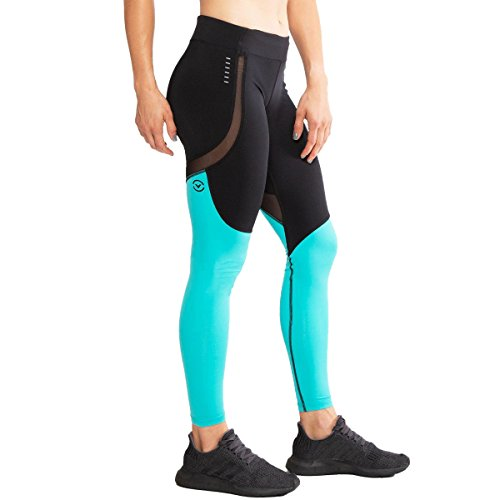 Virus ECo42 Womens Sonic Stay Cool Compression Pants - Black/Teal Green (Black/Teal Green, X-Small)