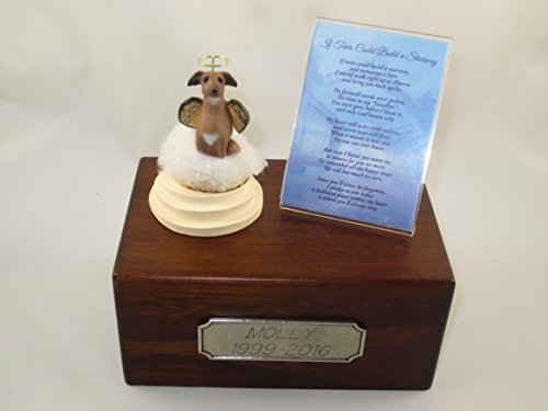 Beautiful Paulownia Small Wooden Urn with Italian Greyhound Stairway to Heaven Figurine with Poem & Personalized Pewter Engraving