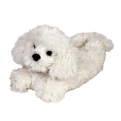 (Bichon Frise Slippers - Plush Dog Animal Slippers by Everberry White )