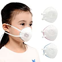 KANJEKANLE Reusable Antibacterial Dust Breathable Washable Anti-formaldehyde,Anti-Particulate Matter Masks,With Adjustable Elastic Belt,Silver Fiber Material,With Breathing Valve,for Kids (3-6Y)(3pcs)