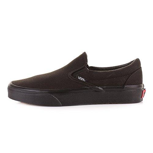Womens Vans Slip On All Black Classic Fashion Plimsolls Trainers Shoes SIZE 8 oM16Q9GC