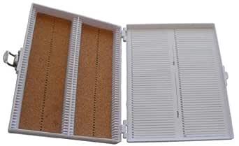 "Heathrow Scientific HD15994E White Cork Lined 100 Place Microscope Slide Box, 8.25"" Length x 7"" Width x 1.3"" Height"