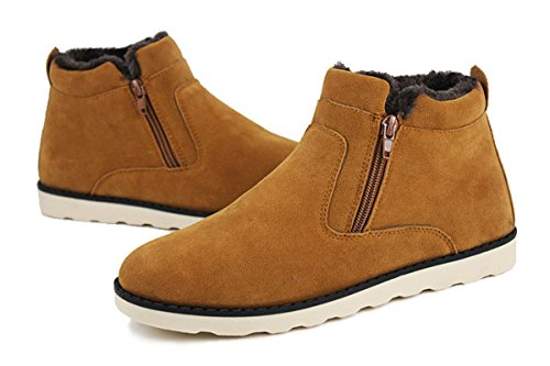 Eagsouni Hombres Botas De Nieve Invierno Cálido Piel Forrada Casual Zapatos Tobillo Alta Con Cremallera Lateral Marrón