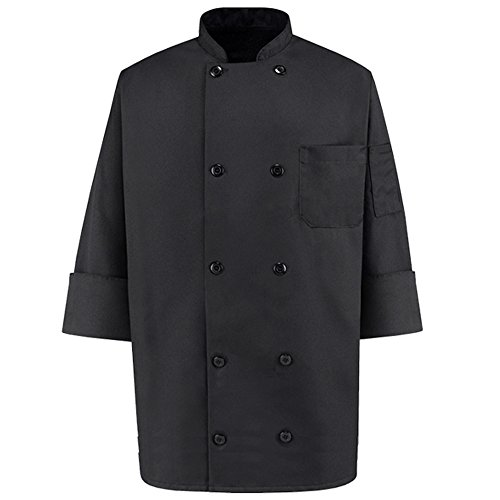 Price comparison product image 350 Chef Apparel 10 Pearl Button Chef Coat-Easy-Care Twill - Black, Medium