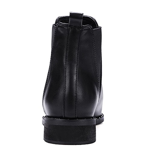 Low AllhqFashion Top Womens Toe PU 38 Low Pointed Closed Boots Black Heels Solid BqfqHIS
