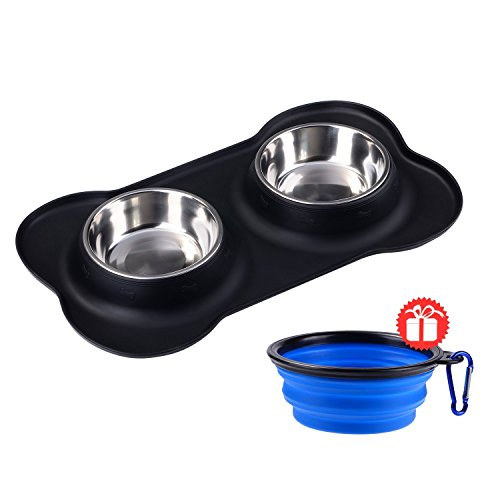 Dog Bowls Stainless Steel Double Pet Bowl Set 24 oz with No Spill Non-Skid Silicone Mat and Collapsible Dog Bowl Food and Water Bowls for Dogs Cats and Pets