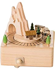 TOOGOO Wooden Musical Box Featuring Mountain Tunnel with Small Moving Magnetic Train | Plays
