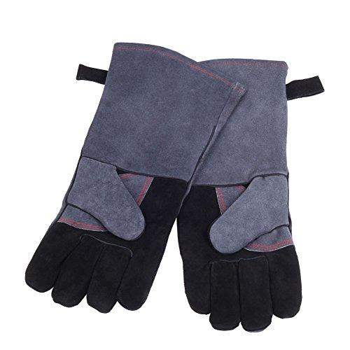 GHB Backhandschuhe Ofenhandschuhe Grillhandschuhe Handschuhe, 1 Paar Ultra Leder Grill Handschuhe für Raucher, Backofen & Outdoor Grill - Schwarz