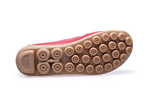 KEESKY Damen Leder Casual Ausgeschnitten Loafers Flache Slip-On Schuhe rot