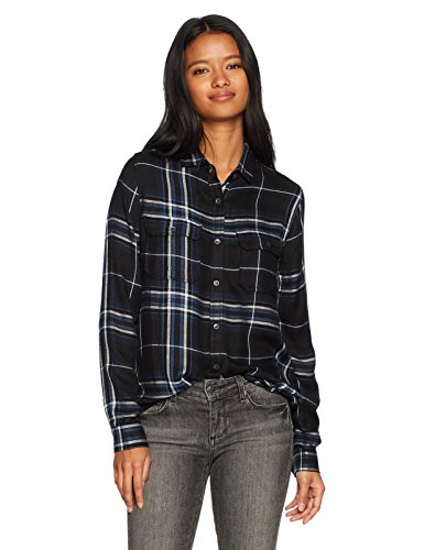 Grunge Flannel (Silver Jeans CO. Women's Shana Plaid Shirt, Navy, S)