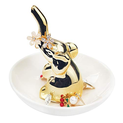 nt Ring Holder, Wedding Engagement Jewelry Dish, Lady Girl Ceramic Earring Necklace Tray Gifts (Gold) ()
