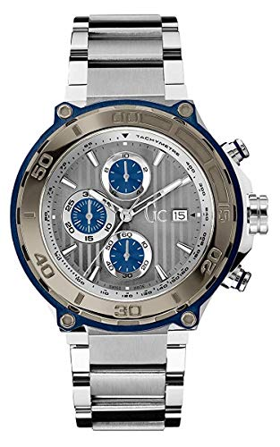Guess Collection Gc Bold Men's Chronograph Watch Silver Blue Tone with Stainless Steel Bracelet X56010G5S Swiss Made